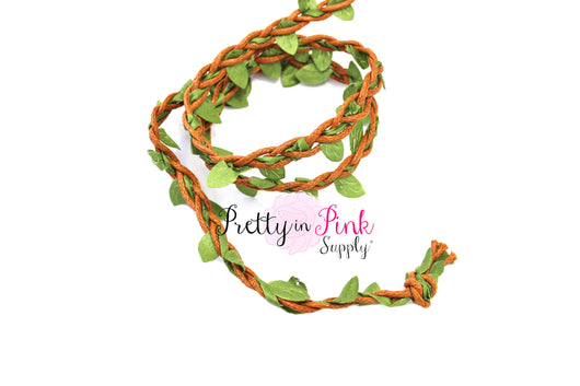 Brown BRAIDED Suede Green Leaf Trim - Pretty in Pink Supply