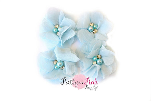 Kaitlyn Collection Pearl Chiffon Flowers