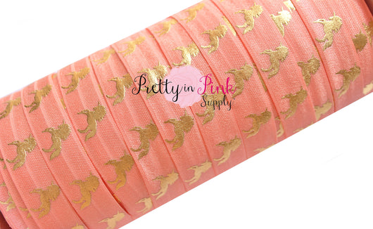 Peach with Gold Metallic Unicorn Print Elastic - Pretty in Pink Supply