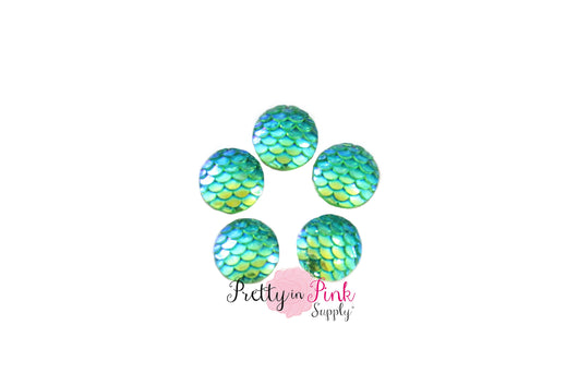 Green Mermaid Flat Back Resin Cabochons - Pretty in Pink Supply