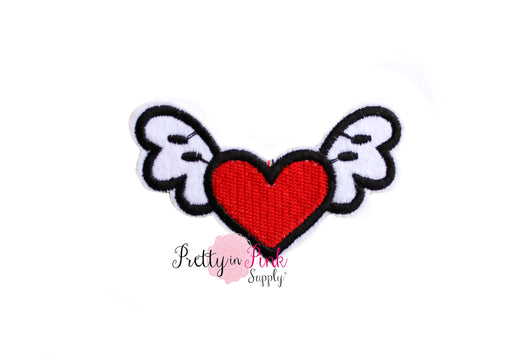 Flying Heart Iron On Patch - Pretty in Pink Supply