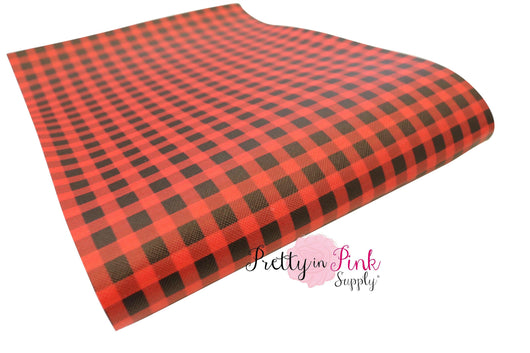 SMALL Red/Black CHECKERED Canvas Faux Leather Sheet