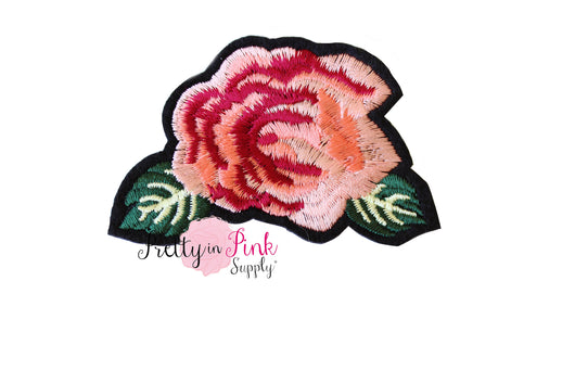 Peach Rose Head Iron On Patch - Pretty in Pink Supply