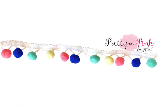 17mm Aqua/Blue Multi Color Pom Pom Trim - Pretty in Pink Supply