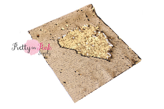 Matte Beige/Shiny Light Gold Changeable Sequin Fabric Sheet - Pretty in Pink Supply