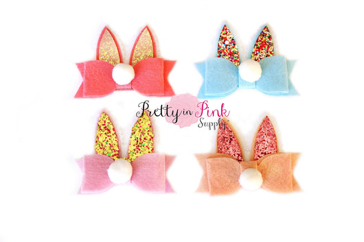 Bunny Ear/Bow Glitter Felt Applique - Pretty in Pink Supply