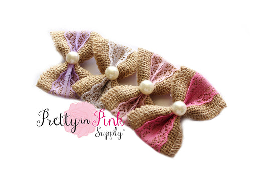 Burplap & Lace with Pearl Center Bows - Pretty in Pink Supply