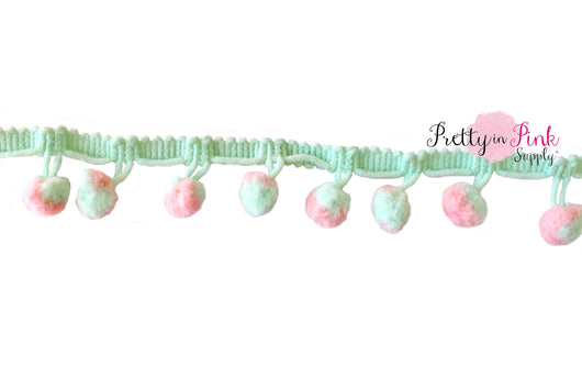 10mm Mint/Peach Pom Pom Trim - Pretty in Pink Supply
