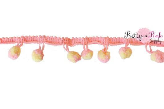 10mm Peach/Yellow Pom Pom Trim - Pretty in Pink Supply
