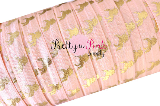 PETAL Peach with Gold Metallic Unicorn Print Elastic - Pretty in Pink Supply