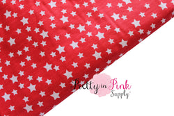Red and White Star Fabric - Pretty in Pink Supply