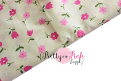 Ivory Pink Floral Fabric - Pretty in Pink Supply