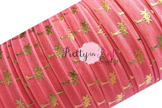 Coral and Gold Metallic Palm Tree Print Elastic - Pretty in Pink Supply