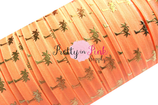 Bright Orange and Gold Metallic Palm Tree Print Elastic - Pretty in Pink Supply