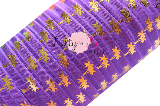 Purple and Gold Metallic Palm Tree Print Elastic - Pretty in Pink Supply