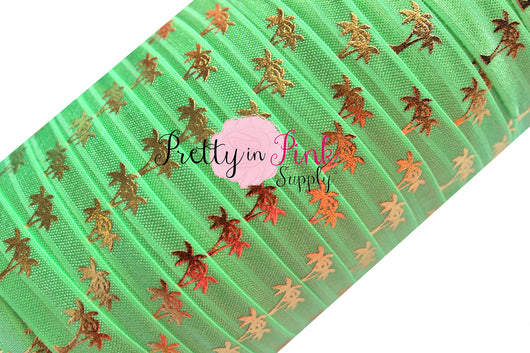 Green Flash and Gold Metallic Palm Tree Print Elastic - Pretty in Pink Supply