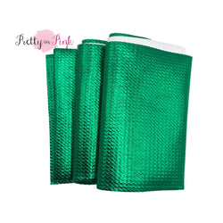 Folded Emerald Green Metallic Liverpool Fabric Strip