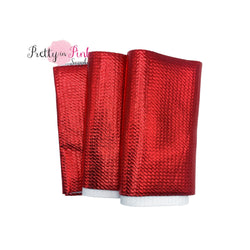 Folded Red Metallic Liverpool Fabric Strip