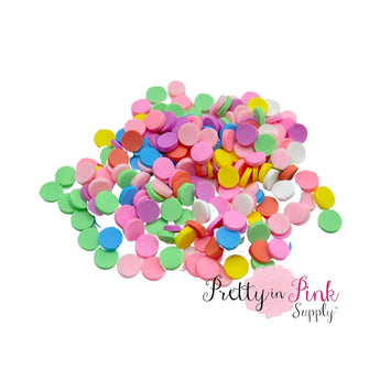 Pastel Rainbow Dot | Confetti Loose CLAY SLICES - Pretty in Pink Supply