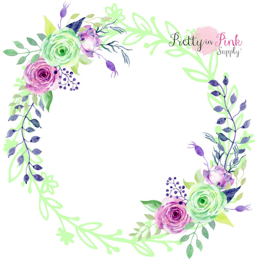 Mint/Orchid Blank Center Floral Wreath Iron On - Pretty in Pink Supply