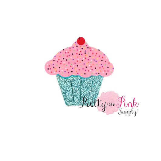 NEW Glitter Sprinkled Cupcake Flat Back Resin