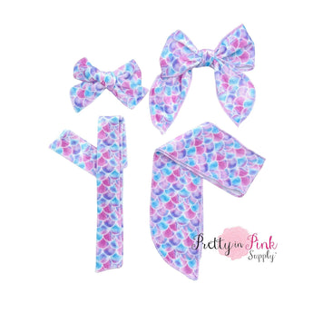 Pastel Mix Mermaid Scales | Velvet Bow Strips - Pretty in Pink Supply
