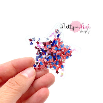 Patriotic Confetti Inflated Star Shaker - Pretty in Pink Supply