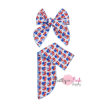 Patriotic Hearts | Patterned Bow Strips | Isabelle