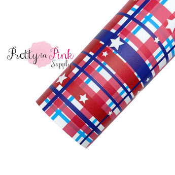 Patriotic Star Plaid | Faux Leather Fabric Sheet - Pretty in Pink Supply