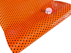 Orange/Black Dot Vinyl Fabric Sheet
