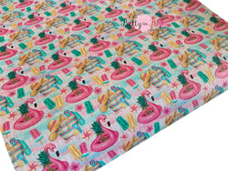 Flamingo Party Textured Canvas Faux Leather Sheet