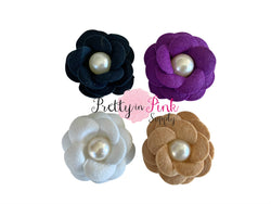 Layered Felt Flowers with Pearl Center