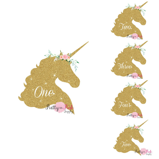 Gold Unicorn Age Vinyl Glitter Iron On - Pretty in Pink Supply