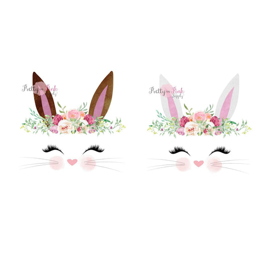 Bunny PINK/Dusty Rose Floral Crown Vinyl Glitter Iron On