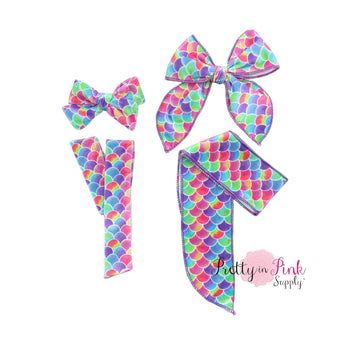 Rainbow Mix Mermaid Scales | Velvet Bow Strips - Pretty in Pink Supply