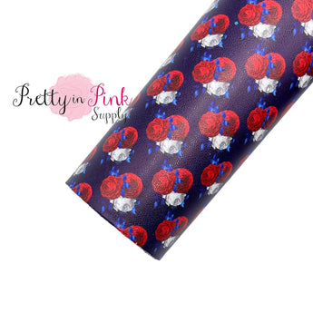 Red White Blue Floral | Faux Leather Fabric Sheet - Pretty in Pink Supply