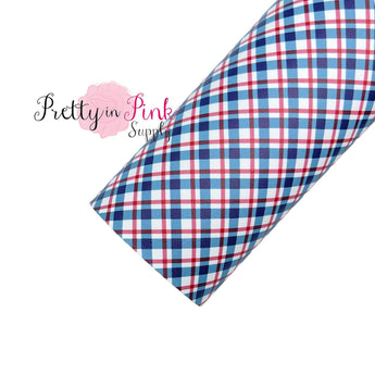Small Red White Blue Plaid | Faux Leather Fabric Sheet - Pretty in Pink Supply