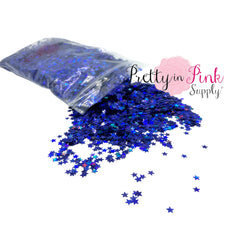 Royal Blue Holographic Star Loose Glitter