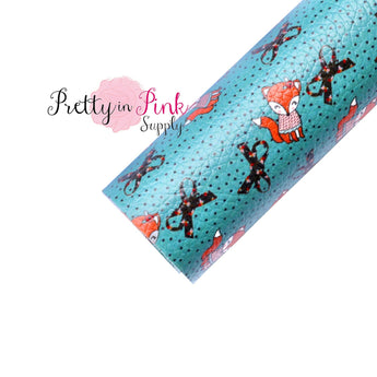Teal Fox Faux Leather Fabric Sheet - Pretty in Pink Supply