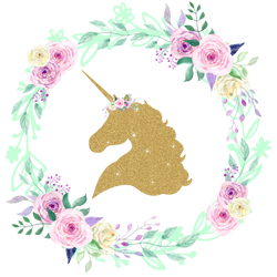 Gold GLITTER Unicorn Center Floral Wreath Iron On - Pretty in Pink Supply