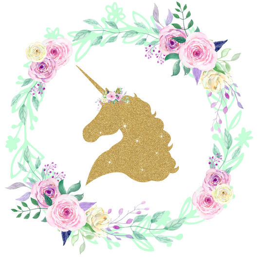 Gold Glitter Unicorn Center Floral Wreath Iron