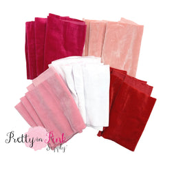 Folded velvet strips in Hot Pink, pale Pink, Light Pink, White, and Red.