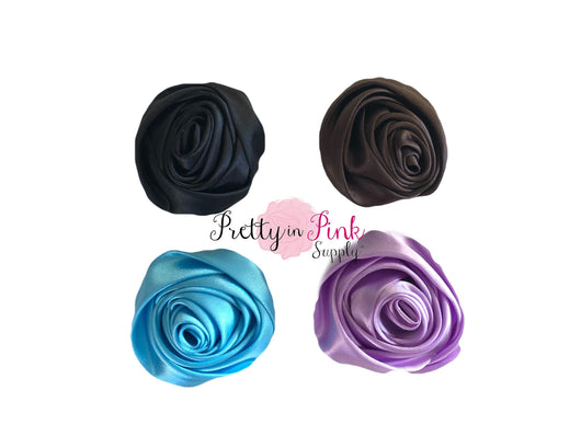 Large Satin Rolled Rosette