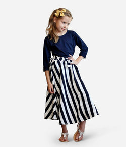 Navy White Stripe Maxi Skirt & Shirt