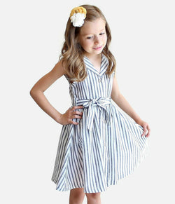 White with Denim Blue Stripe Dress