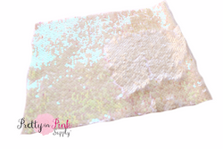 Iridescent White Changeable Sequin Fabric Sheet - Pretty in Pink Supply