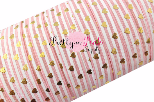 Pink Blush and White Stripe Gold Metallic Heart Print - Pretty in Pink Supply