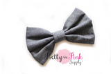 Checkered or Denim Fabric Bows - Pretty in Pink Supply