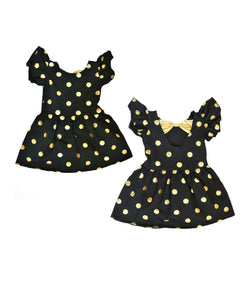 Black Gold Dot Bow Back Dress