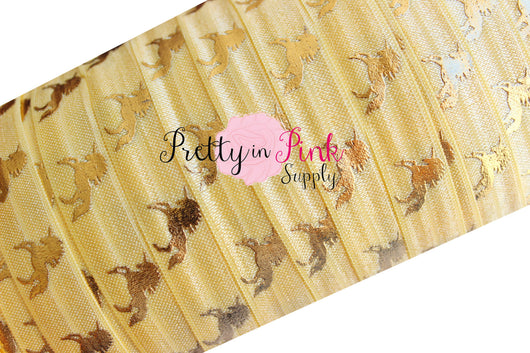 Light Yellow with Gold Metallic Unicorn Print Elastic - Pretty in Pink Supply